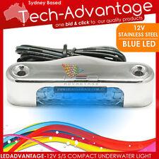 12V STAINLESS STEEL 1.8 WATT ISONIC BLUE LED UNDERWATER BOAT COURTESY STEP LIGHT