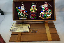 "THOMAS PACCONI CHRISTMAS ORNAMENTS SET 3 MUSEUM SERIES WOOD CRATE LARGE 6"" GLASS"