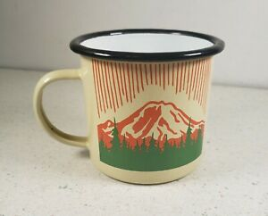 Camping Tan 17 Ounce Enameled Finish Carbon Steel Campsite Coffee Mug W/ Handle