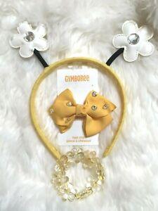 EUC NWT Gymboree Yellow Bee Flower Headband  Hair Clips Bracelet 3pc set