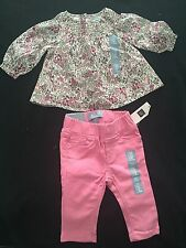 Baby Gap Girl 0-3m Outfit Floral Swing Top & Pink Skinny Pants NWT Free Shipping