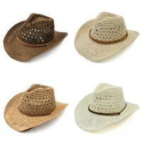 Western Style Hollow Straw Cowboy Cowgirl Hat Wide Brim Summer Sun Cap Unisex