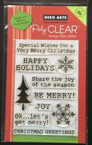 """Hero Arts Poly Clear """" Get Merry"""" Christmas Stamps *New*"""