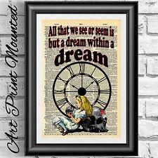 Art print dictionary Mounted Gothic Alice in Wonderland Steampunk dark dream