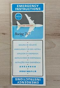 """Safety Card / Emergency Instructions Pan Am Boeing 747 """"Clipper Rambler"""""""