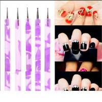 5PCS/set 2Way Marbleizing Dotting Manicure Tools Painting Dot Pen Nail Art Paint