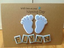 Handmade personalised Naming Day card....boy/girl name and date