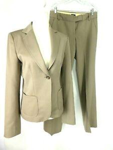 J.Crew Women's Suit Beige 1-Btn US T4 Jacket Flat Front City Fit US T6 Pants
