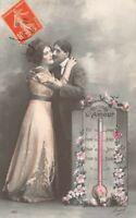 CPA Fantaisie - Couple d'amoureux et le baromètre de l'amour