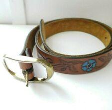 Handmade Little Girls Brown Blue Floral Tooled Leather Belt Size 26