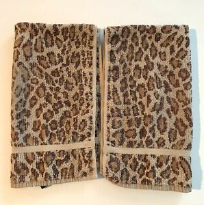 2 Vintage Ralph Lauren Aragon Hand Towel Leopard Animal Print 16X 28 Made USA
