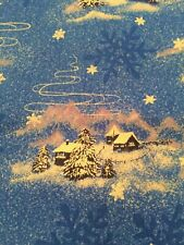 Christmas/Winter Scenes, Blue with White Sparkle Stars 1 1/2 Yd Cotton Fabric