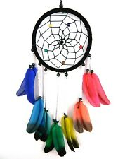 Dream catcher beautiful long rainbow feather quality dreamcatcher black white