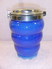Very Pretty Old Cobalt Glass Cannister With A Chrome Top