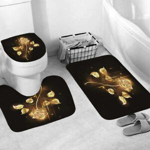 NEW Golden Rose Bathroom Rug Shower Curtain Thick Bath Mat Non-Slip Toilet Lid