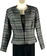 Womens JS Collections 2-Piece Corset Style Blouse with Jacket Size 6 Gray Silver