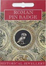 Roman Owl Pin Badge - Fine British Made Pewter