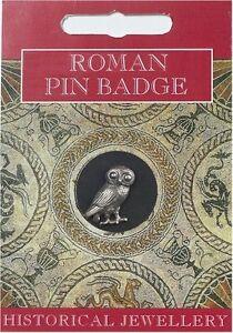 Roman Owl Pin Badge - Fine British Made Silver Pewter