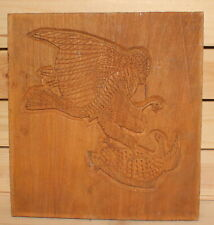 Vintage hand carving wood wall hanging plaque hawk catch bird