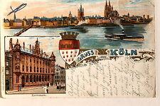 24541 Litho AK Gruß aus Köln  Wappen Reichs Bank Rhein-Ansicht 1900