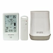 AcuRite 01089M Rain Gauge with Thermometer & Humidity Wireless Storm alert