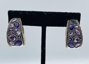 Lagos Caviar Sterling Silver & 18k Yellow Gold Amethyst Hoop Earrings
