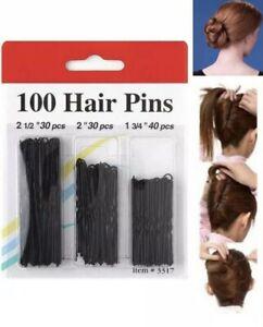 100 Bun Pins Pack Ladies Bob Kirby Hair Grips Fashion Styling Wavey Slides