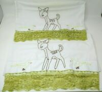 Vintage Embroidered Pillowcases deer and birds with lace trim