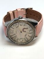Guess Ladies Quartz Watch Pink Leather Band WORKING