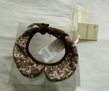 Nwt New Monnalisa Italy girls beautiful bronze sequins pailettes collar L 12-16y