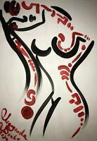 ORIGINAL Malerei PAINTING abstract abstrakt erotic EROTIK akt nu contemporary A3