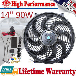 14'' Slim Fan Push Pull Electric Cooling Radiator Thermostat Mount Kit 12V 12Amp