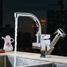 Chrome Kitchen Faucet Pull Out Spray Single Handle Swivel Spout Sink Mixer Tap