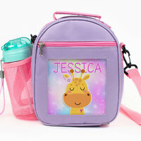 Personalised GIRAFFE Lunch Bag Girls School Insulated Lunchbox Snack Cool KKP40