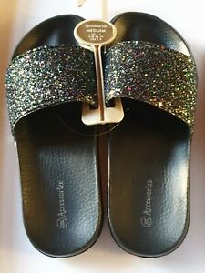 Accessorize Womens Black Glitter Slidders Size 5-6 New