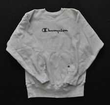 Champion Crew Neck Sweater Vintage Heavy Cotton Gray Grey XL