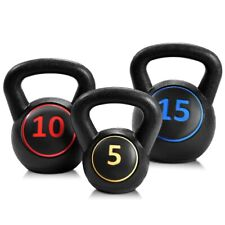 3 Pcs 5 10 15lbs Kettlebell Kettle Bell Weight  Lifting Set Home Gym Pesas
