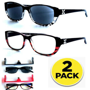 Full Sun Readers Reading Glasses Women Rhinestone Cat Eyes UV Protection Block