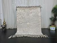 "Handmade Moroccan Beni Ourain Carpet 4'x5'9"" Dotted Berber White Black Wool Rug"