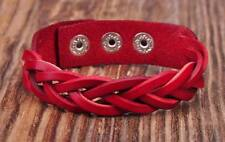 D06 Red  Quality Leather Bracelet Wristband Braids&Studs Cuff Unisex&Men's