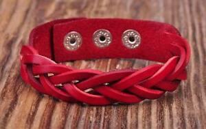 D06 Red  Quality Leather Bracelet Wristband Braids&Studs Cuff Unisex&Men's