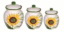 Sunflower Canister Set Yellow Green Retro Kitchen Storage Decorator Accent 3 Pc