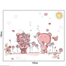 Wall Sticker Paper Pink Bear Style Removable Nursery Baby Kids Bedroom Art Decal