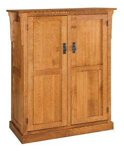 Amish Arts & Crafts Craftsman Kitchen Pantry Storage Cabinet Solid Wood Rollout