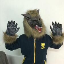 Wolf Hair Mask Werewolf Gloves Role Play Fancy Dress Party Props Halloween