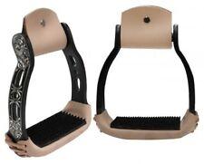 Showman Light Weight BLACK Aluminum Stirrups w/ Engraved & Cut Out Design! NEW!!