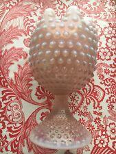 1950s VINTAGE DUNCAN MILLER GLASS OPALESCENT PINK HOBNAIL ROSE BOWL COMPOTE nice