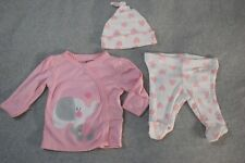 Baby Girls 3 PC OUTFIT Pink L/S Shirt ELEPHANTS Pants & Hat WHITE Hearts PREEMIE