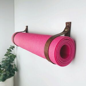 Fitness Yoga Mat Storage Rack Wall Mount Leather Holder for Foam Roller Gym Home