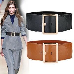 Real Leather Waist Belt Elastic Cloth Gold Pin Buckle Wide Waistband Women Belt